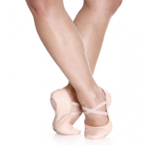 Split Sole Leather Ballet Shoes - Pink
