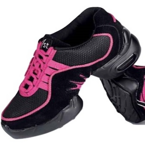Zumba Jazz Hip Hop Street Dance Sneaker in Black/Black with Pink Trim- Showstopper