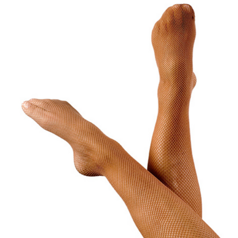 Footed Fishnet Stockings - Tan or Black - Fiesta Legwear