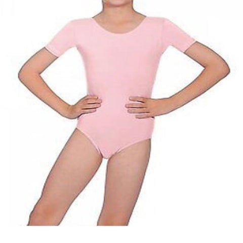 """Poppy"" Short Sleeve Baby Pink Leotard  Toddler/Infant sizes"
