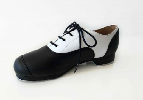 Child's/Adult's Black & White Doubled Soled Oxford Taps - Slick Dancewear #Limited Edition