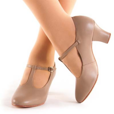 T-bar 5cm (2') Chorus Heels in Black & Tan - So Danca