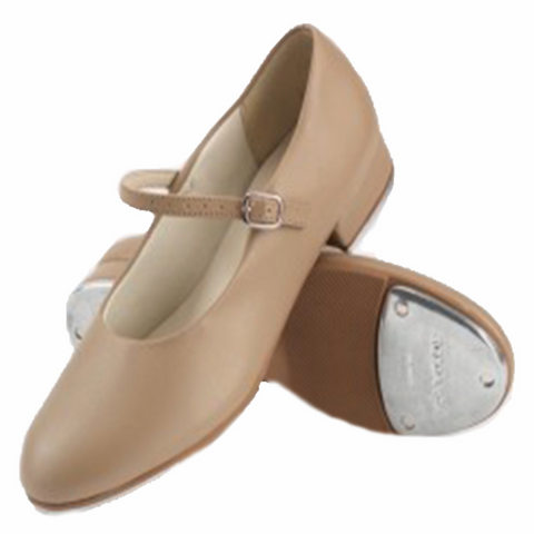 Beginner's Basic Buckle Tap Shoes in Tan & Black - So Danca