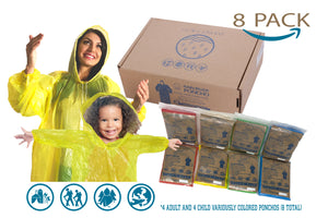 Rain River Poncho Disposable Rain Poncho Emergency Family 8 Pack - Extra Thick