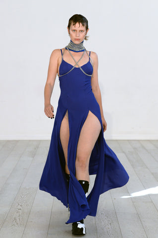 Lula Laora ss22 the garden Getty runway, blue sleeveless dress with two large slits