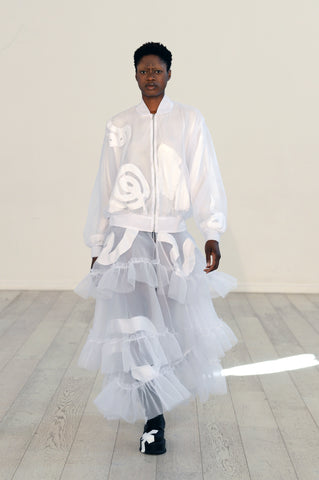 Lula Laora ss22 the garden Getty runway, organza bomber jacket with additional layers.