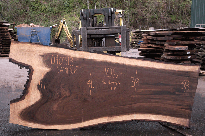 Oregon Black Walnut Slab 040318-01