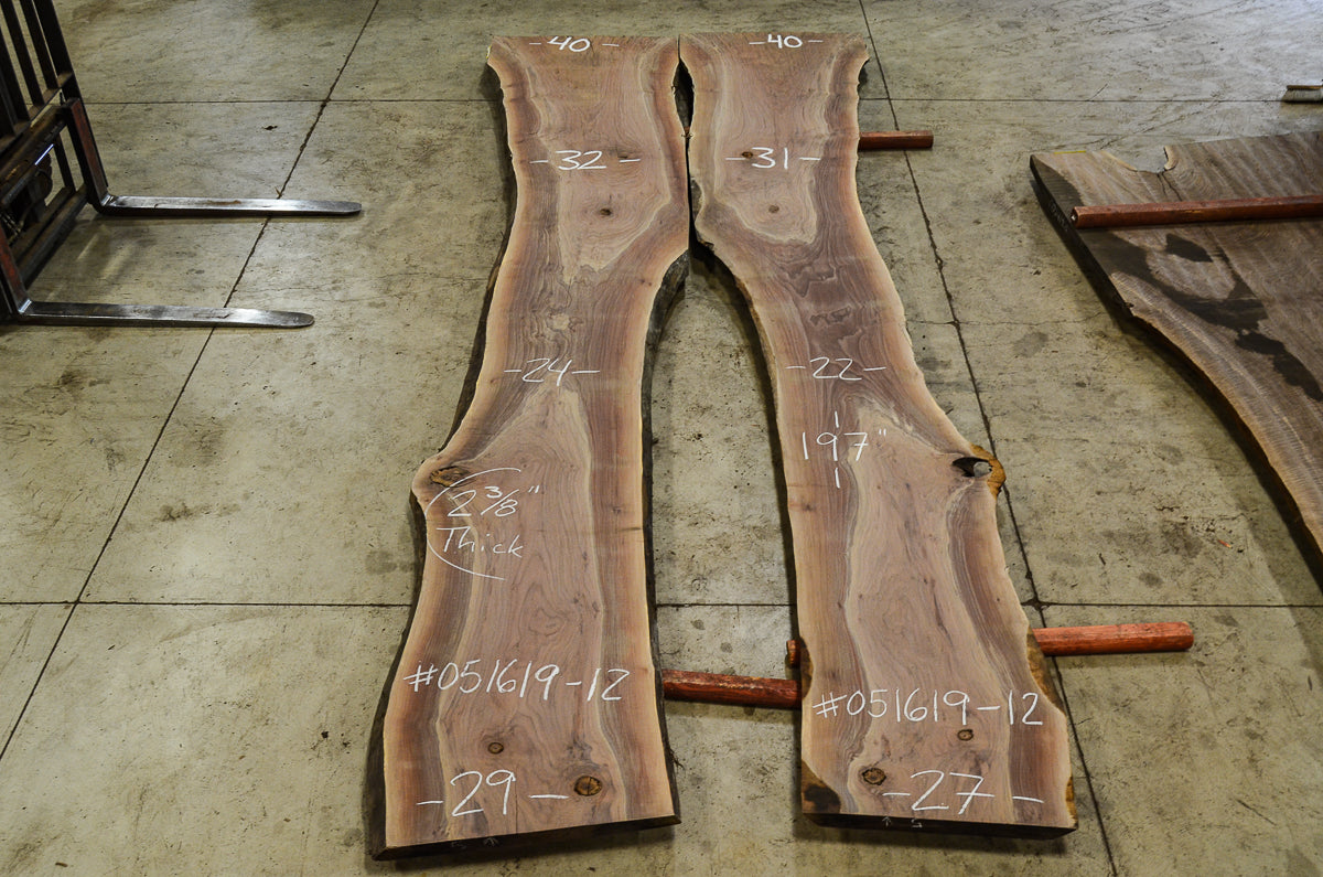 Oregon Black Walnut Bookmatched Slabs 051619-12