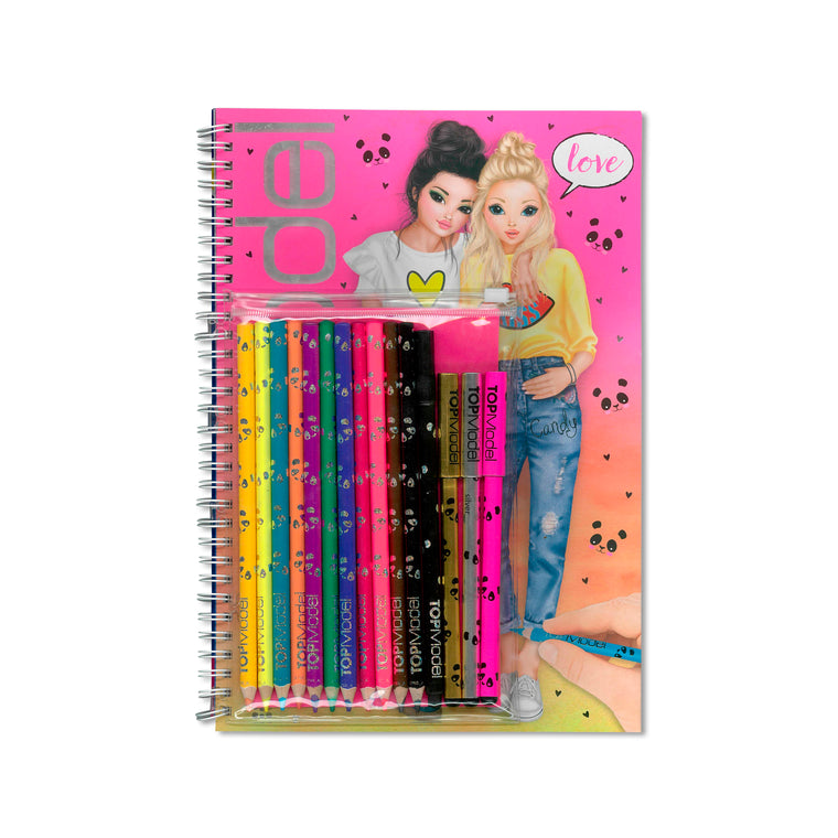 Colouring & Activity Book with Colour Pen Set