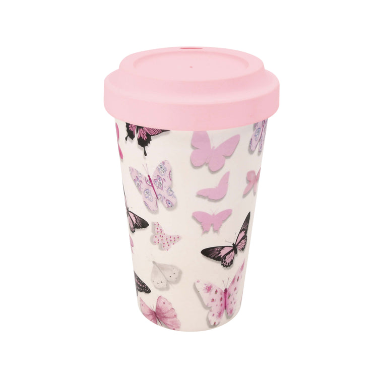 Pink Butterflies - Bamboo Travel Mug