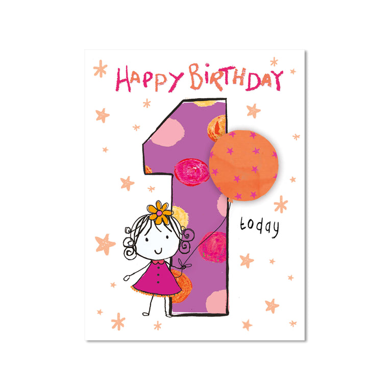 Age 1 Girl Birthday Card