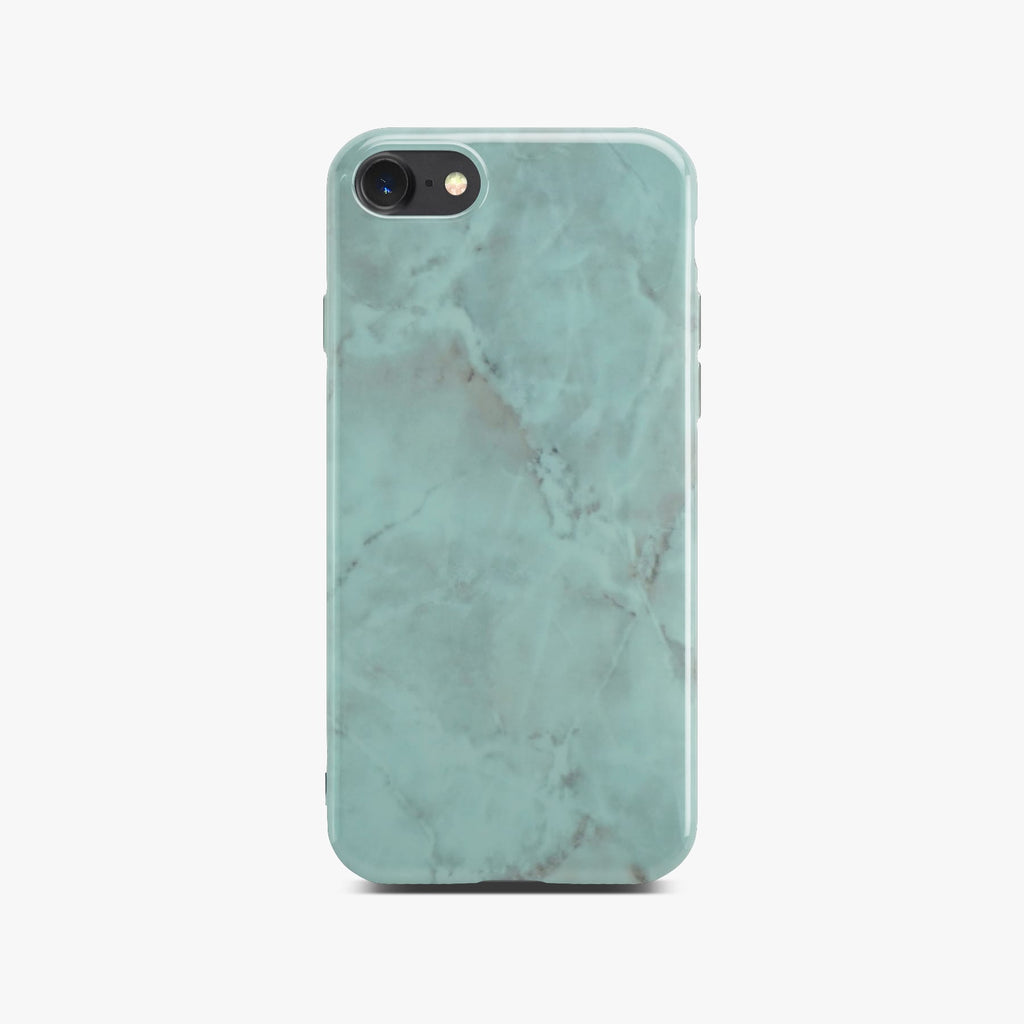 Green Glossy Marble Case On Black iPhone 8