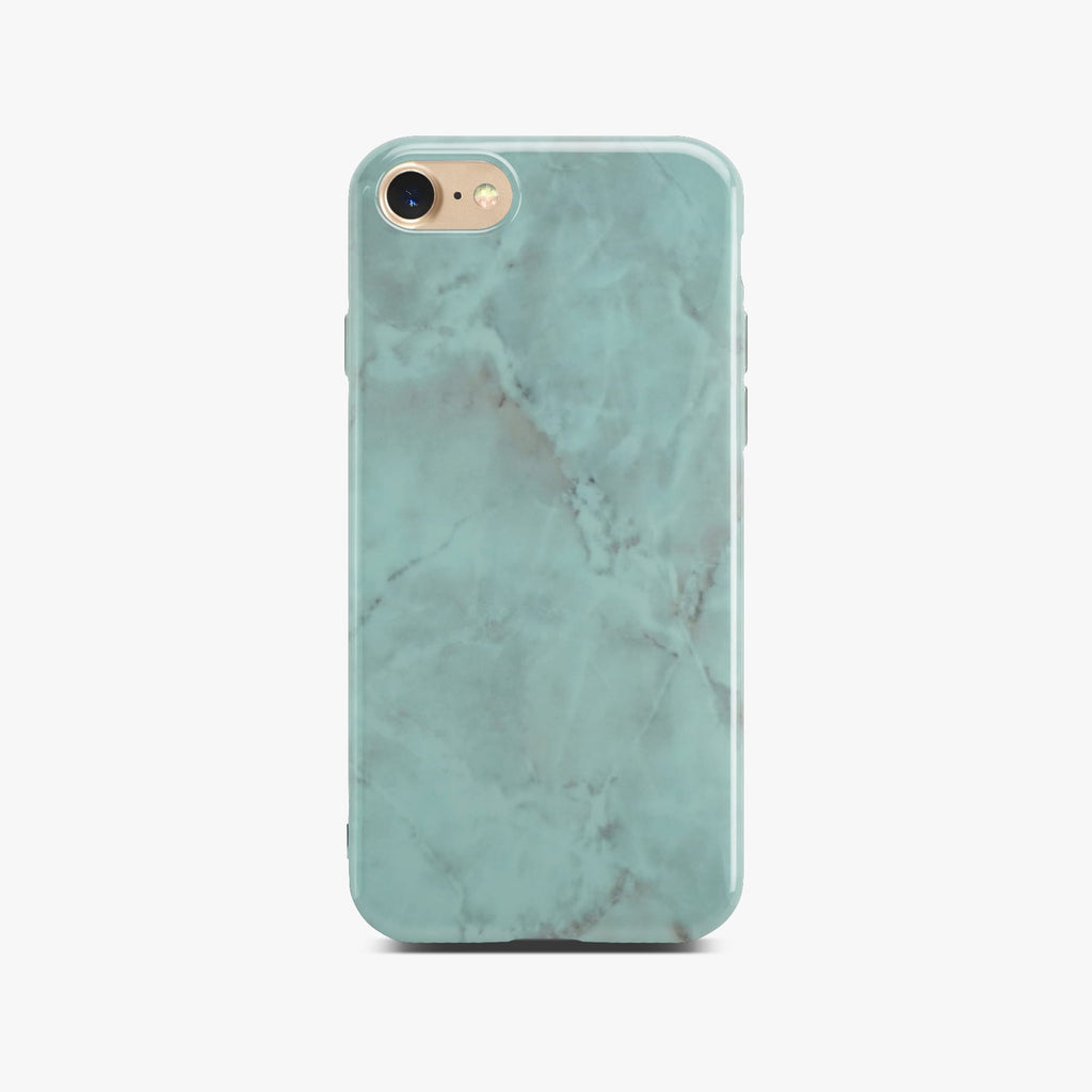 Green Glossy Marble Case On Gold iPhone 8