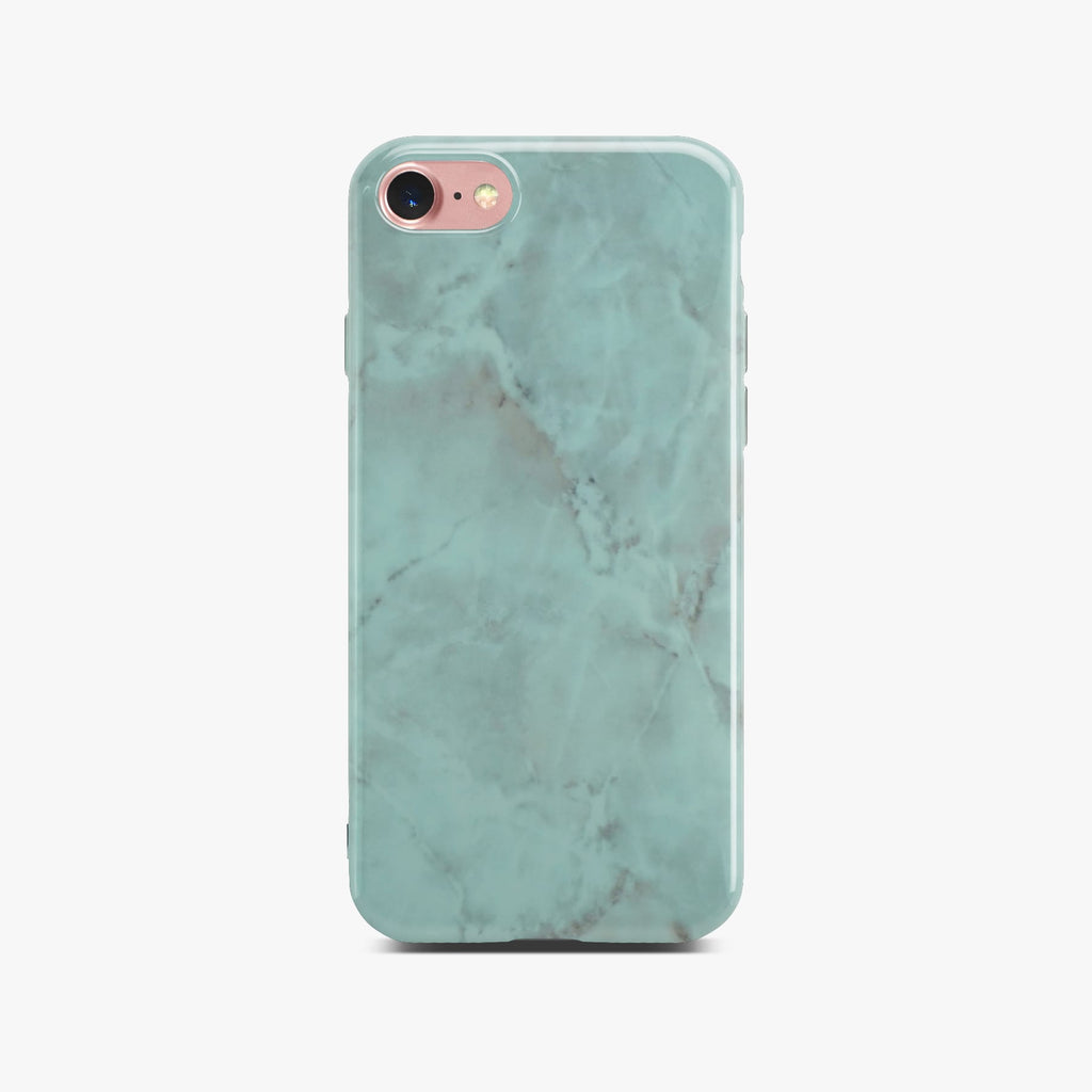 Green Glossy Marble Case On Rose Gold iPhone 8