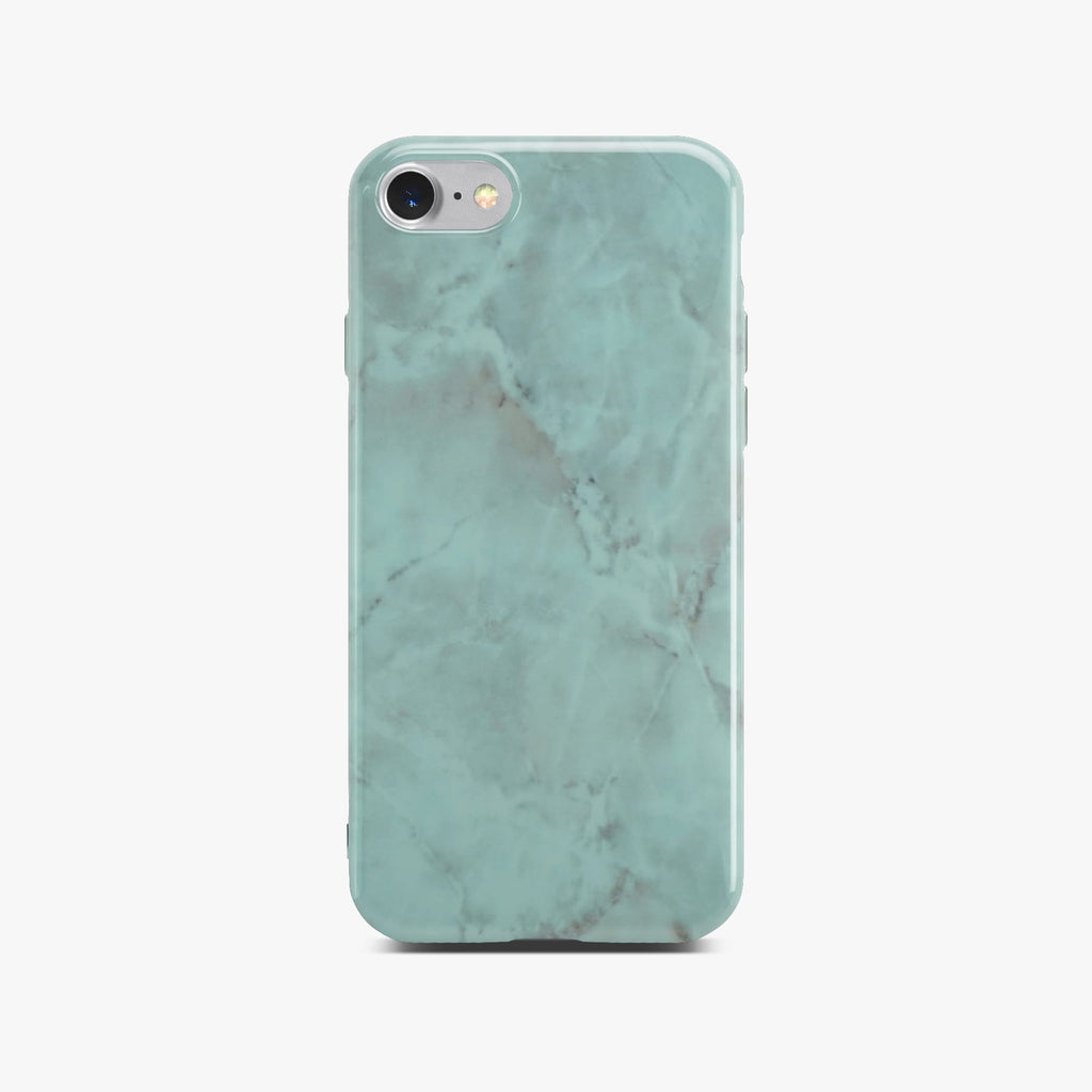 Green Glossy Marble Case On Silver iPhone 8