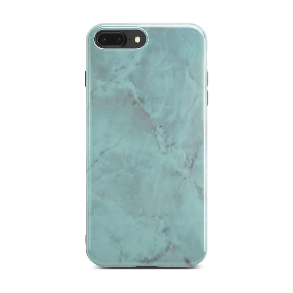 Green Glossy Marble Case On Black iPhone 8 Plus