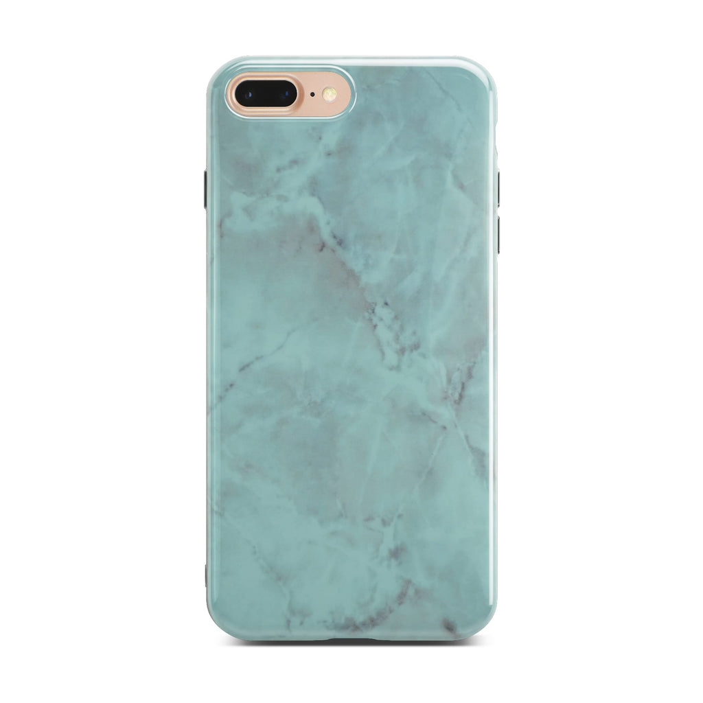 Green Glossy Marble Case On Gold iPhone 8 Plus