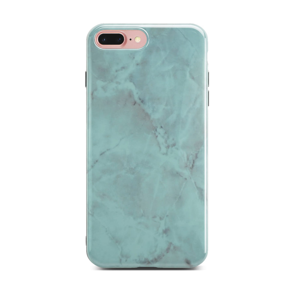 Green Glossy Marble Case On Rose Gold iPhone 8 Plus