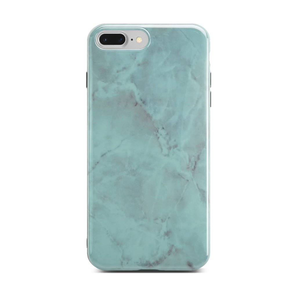 Green Glossy Marble Case On Silver iPhone 8 Plus