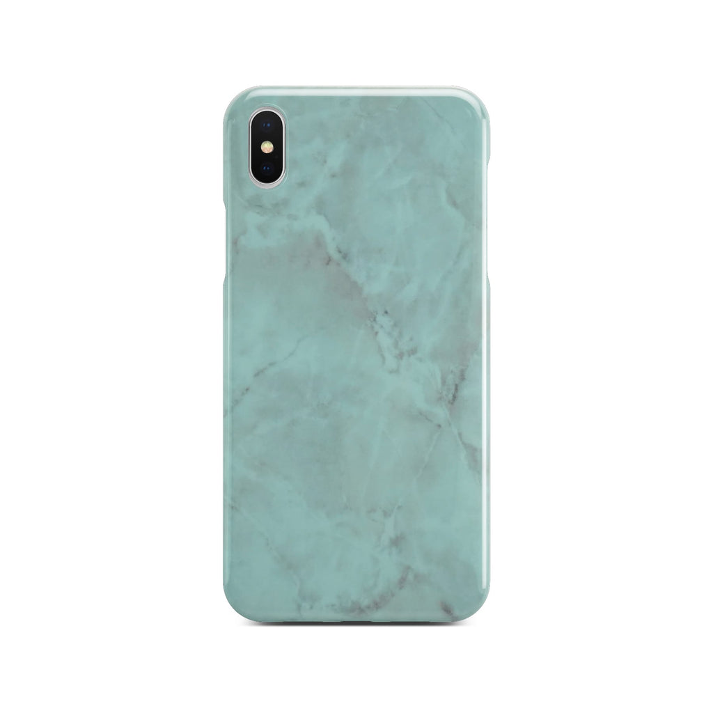 Green Glossy Marble Case On Silver iPhone X