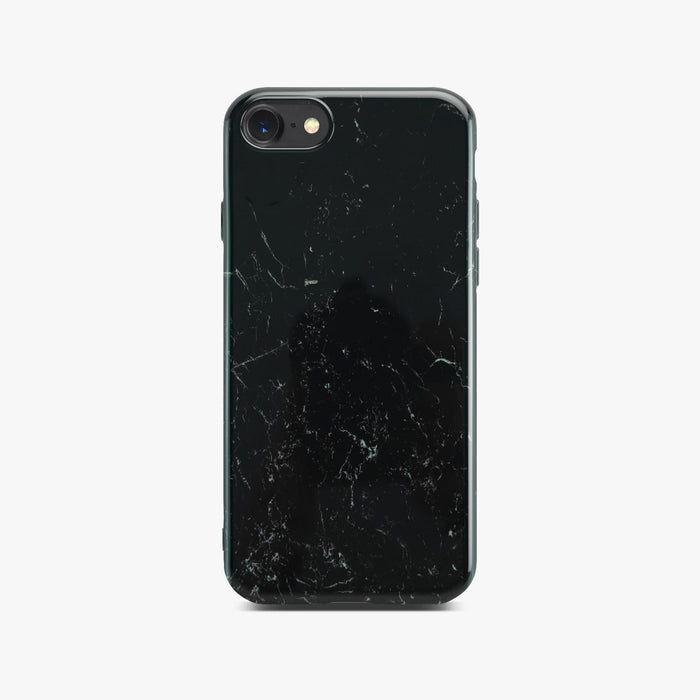 Black Glossy Marble Case On Space Grey iPhone 8 / 7