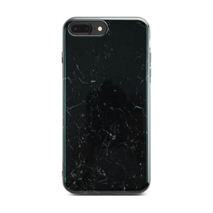 Black Glossy Marble Case On Space Gray iPhone 8 Plus