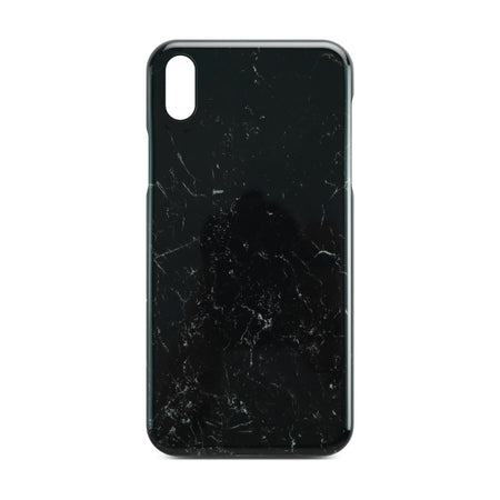 Black Glossy Marble Case For iPhone X