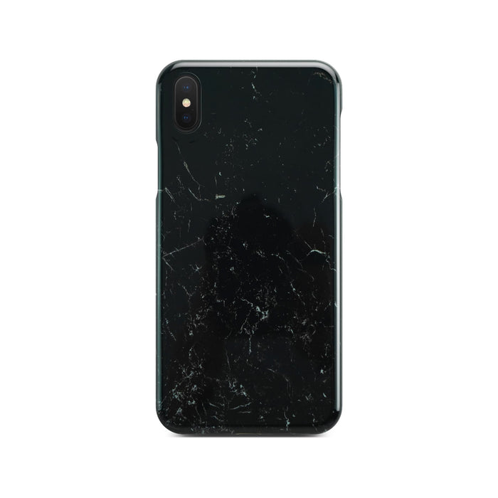 400203 Black Glossy Marble Case On Space Gray iPhone X