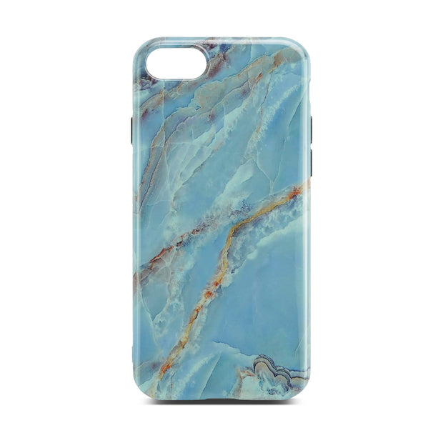 Light Blue Glossy Marble Case For iPhone 8