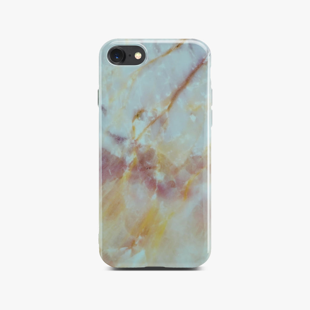 Yellow And White Marble Case On Space Gray iPhone 8