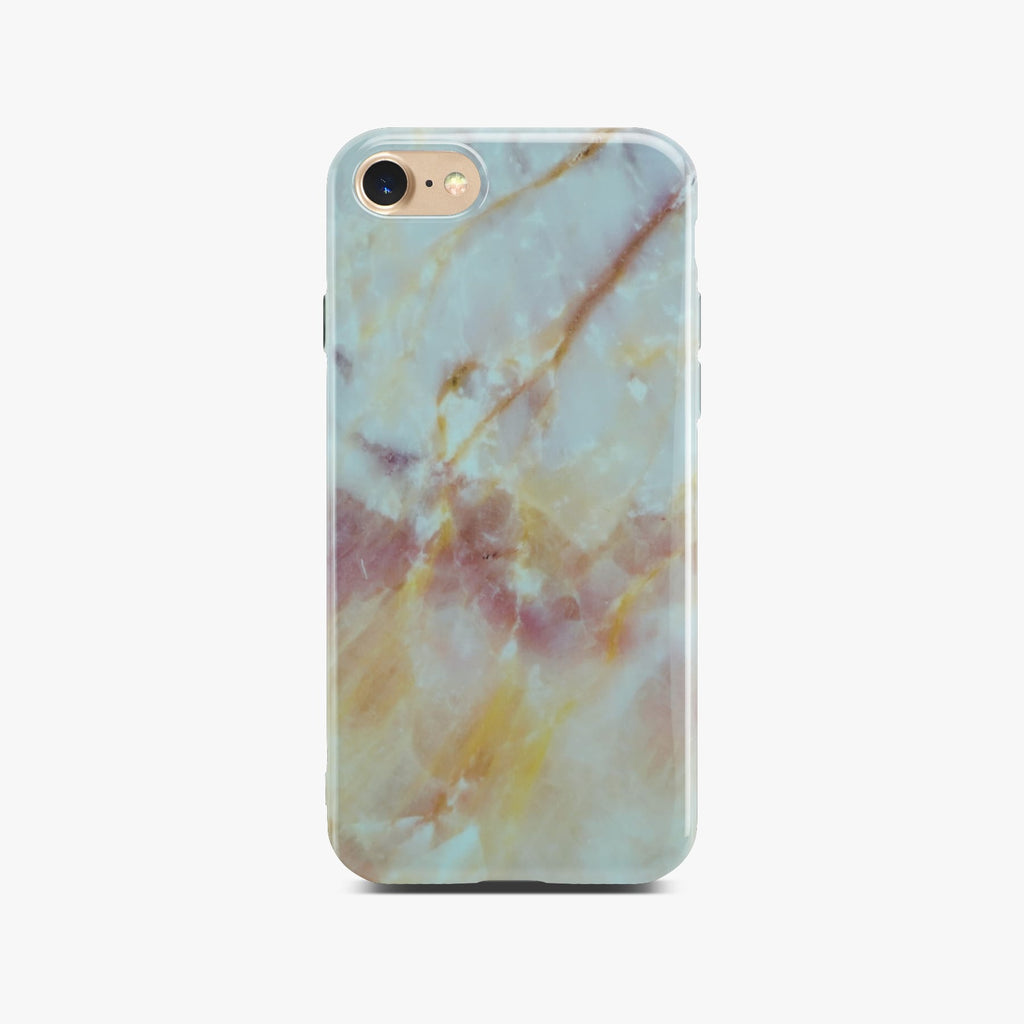 Yellow And White Marble Case On Gold iPhone 8