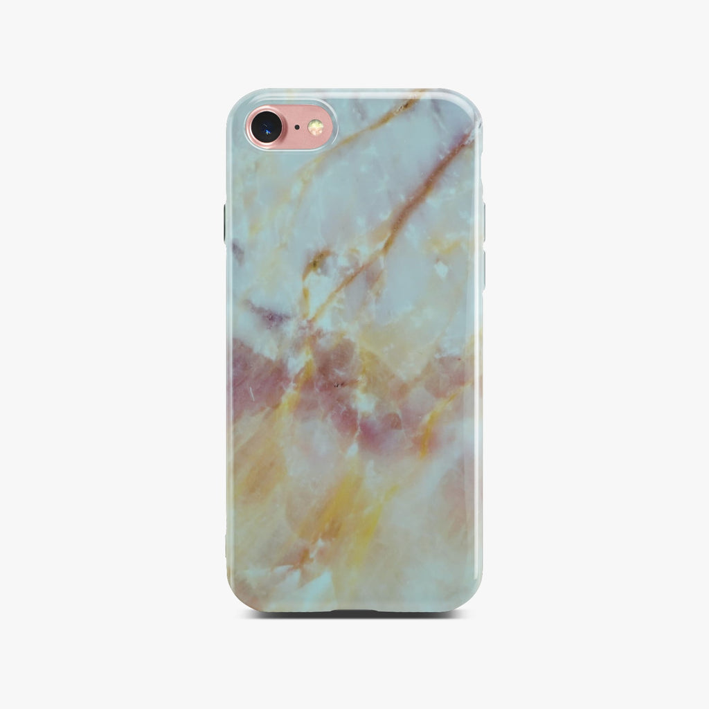 Yellow And White Marble Case On Rose Gold iPhone 8