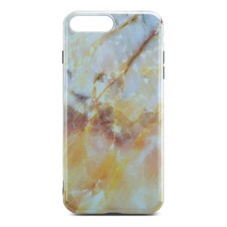 Yellow And White Glossy Marble Case For iPhone 8 Plus