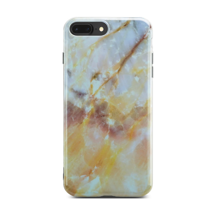 Yellow And White Glossy Marble Case On Space Gray iPhone 8 Plus