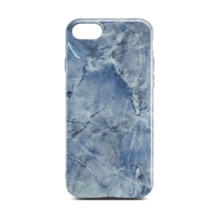 Blue Glossy Marble Case For iPhone 8
