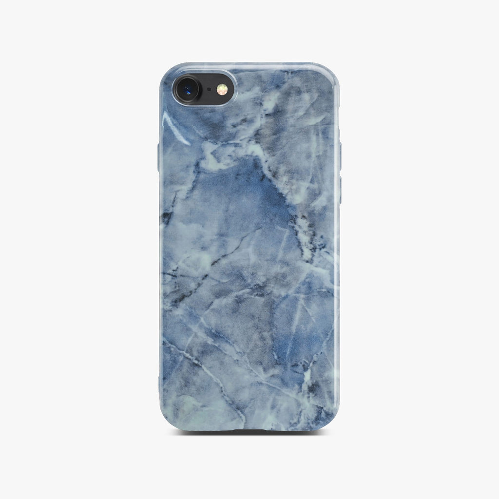 Blue Glossy Marble Case On Black iPhone 8