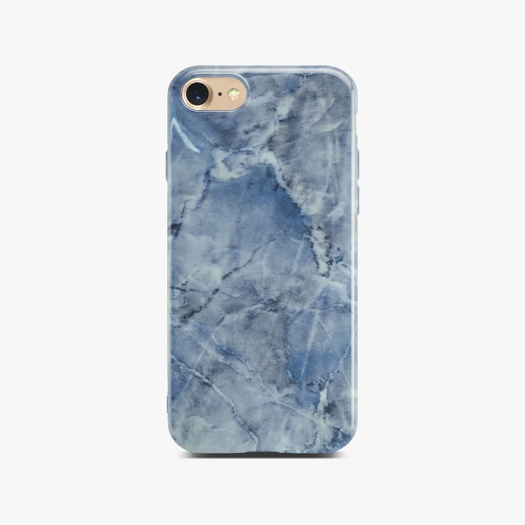 Blue Glossy Marble Case On Gold iPhone 8