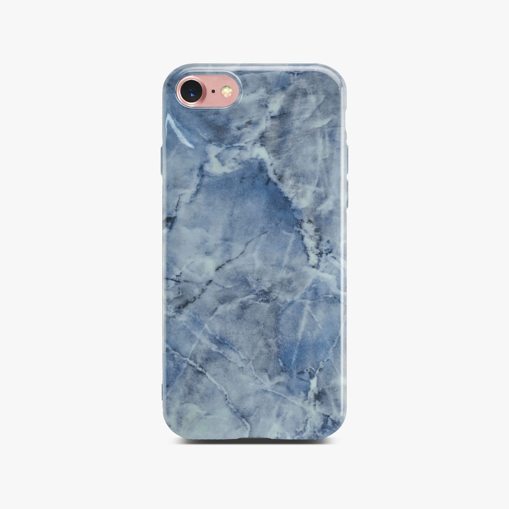 Blue Glossy Marble Case On Rose Gold iPhone 8