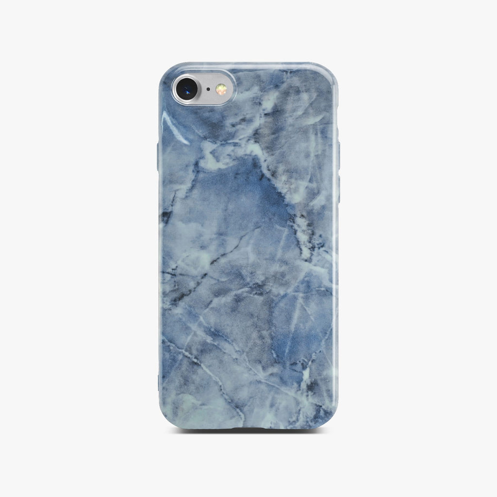 Blue Glossy Marble Case For Silver iPhone 8