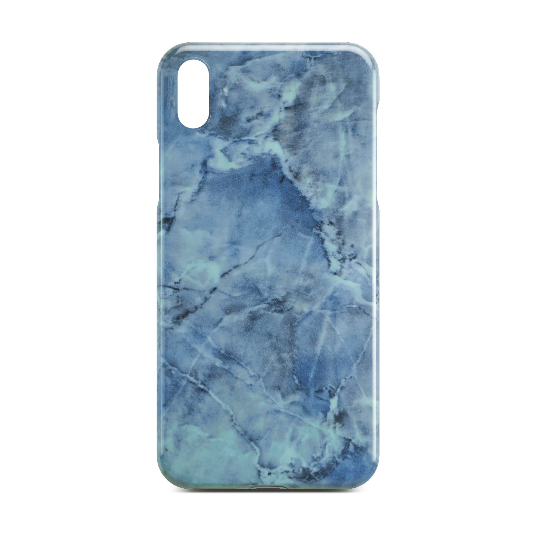 Blue Glossy Marble Case For iPhone X