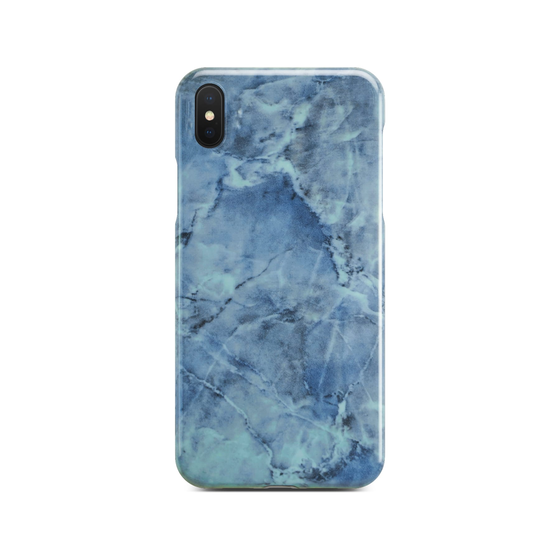 Blue Glossy Marble Case For Black iPhone X