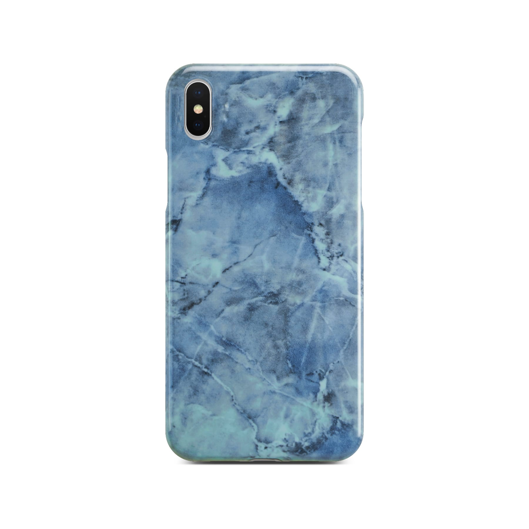 Blue Glossy Marble Case For Silver iPhone X