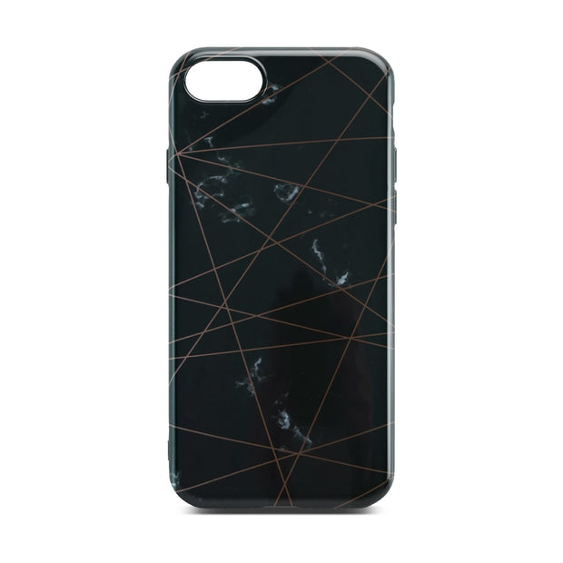 Black Glossy Marble Case with Golden Lines For Black iPhone 8