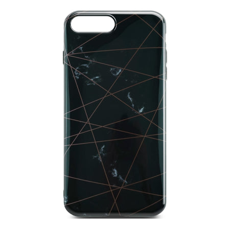 Black Glossy Marble Case with Golden Lines For iPhone 8 Plus