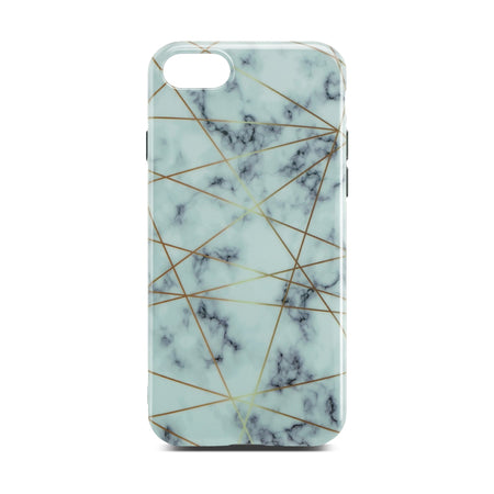 White Glossy Marble Case with Golden Lines For iPhone 8