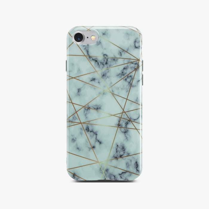 White Glossy Marble Case with Golden Lines On Silver iPhone 8