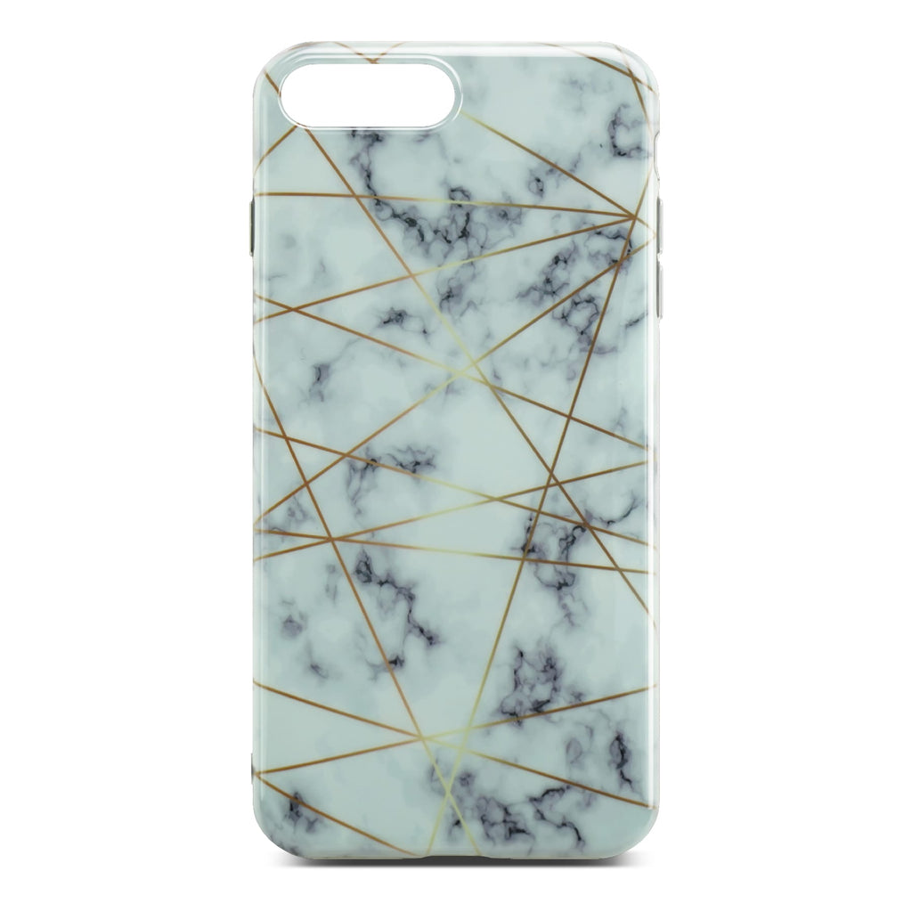 White Glossy Marble Case with Golden Lines For iPhone 8 Plus