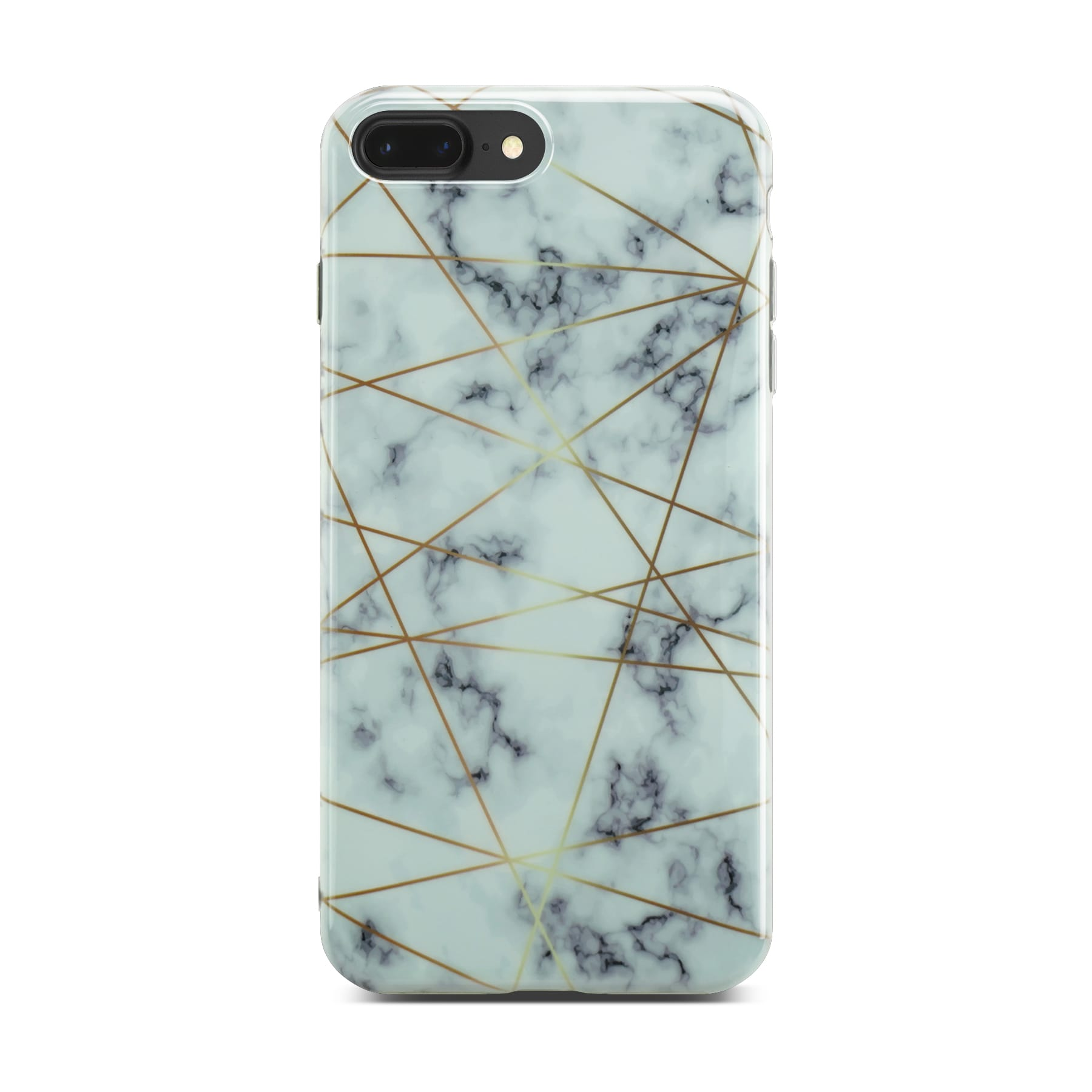 White Glossy Marble Case with Golden Lines On Space Gray iPhone 8 Plus