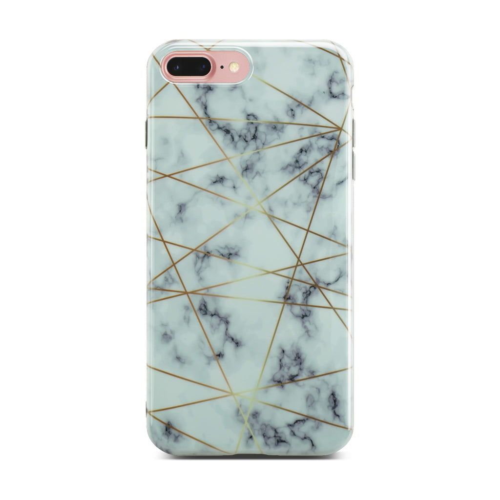 White Glossy Marble Case with Golden Lines On Rose Gold iPhone 8 Plus