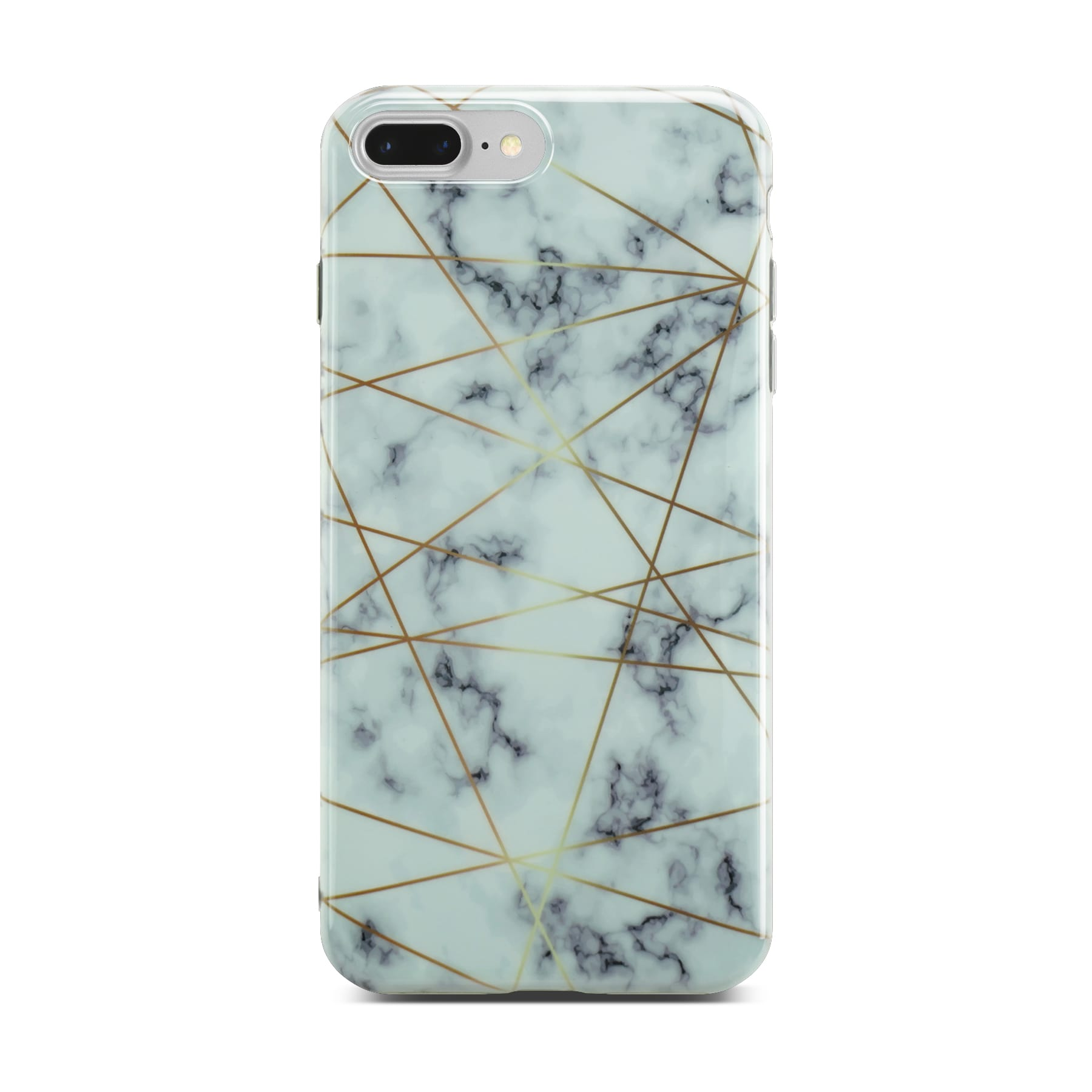 White Glossy Marble Case with Golden Lines On Silver iPhone 8 Plus